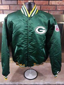 Vintage Starter Green Bay Packers NFL Football Satin Snap Jacket Mens Size XL