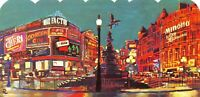 Large Format Die-Cut London Art Postcard, Piccadilly Circus & Eros Statue NEW