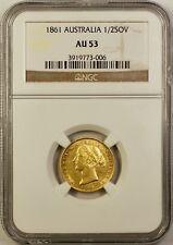 1861-S Australia 1/2 Half Sovereign Gold Coin NGC AU-53 Sydney Mint Very Scarce