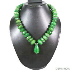 """1100 Cts Natural Brazilian Green Emerald Gem Round Faceted Beaded Necklace 18"""""""
