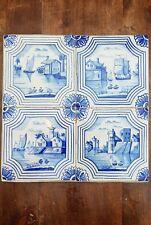 4 antique Dutch Delft Blue White Tiles tableau Holland scenes encased in plaster