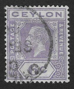 CEYLON  KING GEORGE V STAMP 6c 1921-1927  USED (E7X)