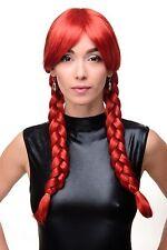Femme Perruque cosplay Rouge Rouge Vif Tressé Pigtails Écolière 3446-137