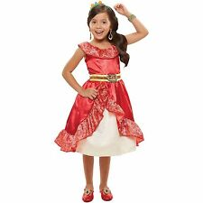 NEW DISNEY PRINCESS DRESS ELENA AVALOR RED OUTFIT GIRLS DRESS UP COSTUME