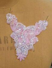 """5"""" Bead & Iridescent Sequin Pearl Applique - PINK"""