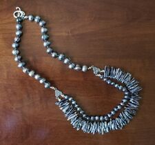 Hand-knotted Biwa & freshwater pearl necklace -- Rainbow Grey & Sterling