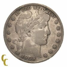 1908-S Silver Barber Half Dollar 50C (Fine, F Condition) Full Strong Liberty