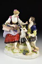Antique Meissen Porcelain Group Figurine Statue Man Woman Lamb