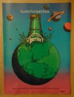 PERRIER BOTTLED WATER 80's Earth's First Soft Drink 1984 Print Ad Advertising
