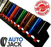 1/2 Drive Deep Socket Set Metric 10 Pc Multi Coloured Sockets & Rail 13 - 24mm