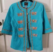 BOB MACKIE Wearable Art Coat/Jacket, Turquoise w/Big Embroidered Elephants, Sz S