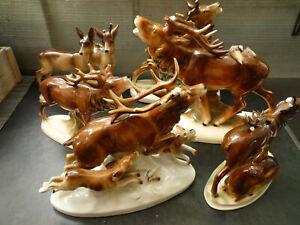 6 verschiedene Porzellan Figuren Hirsch Reh Hunde Jagt alle gemarkt