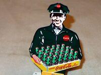 """VINTAGE COCA COLA SODA SALESMAN 12""""  METAL BUSINESS CARD HOLDER POP GAS OIL SIGN"""