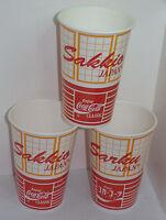 3 VTG SAKKIO SARKU JAPAN RESTARANT CLASSIC COCA COLA PAPER CUPS! COKE! 16 OZ NEW