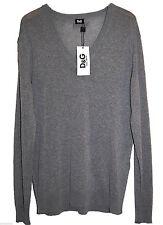 Dolce & Gabbana Gray Mens V-Neck Thin Sweater Size US 44 EU 54 NEW Retail $415