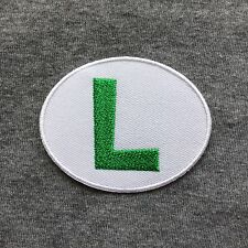 Super Mario Luigi L Logo Symbol Iron On Patch Embroidery Patches - Oval