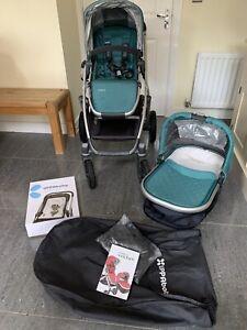 Uppababy Vista 2015 Pram Pushchair Carrycot With Infant Snugseat Ella green