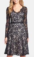 Maggy London Women's Black Long Sleeve Lace Fit & Flare Dress $178 Sz Petite 10
