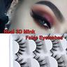 5Pairs False Eyelashes Natural Volume Corner Thick Strip 100%Real 3D Mink Lashes