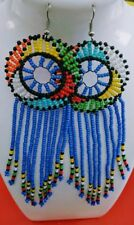 African-Kenya Maasai Handmade Seed Beads  waterfall Blue multicolored earrings