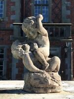 1 Beautiful Old Reclaimed Stone Cherubs Garden Ornament Centrepiece 20th Century