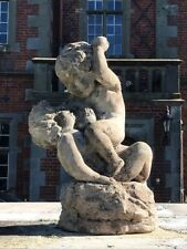 1 Beautiful Reclaimed Stone Cherubs Garden Ornament Centrepiece 20th Century