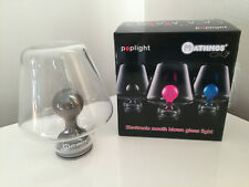 Rare Mathmos Poplight Electronic Mouth Blown LED Glass Light, Green/Blue, Boxed