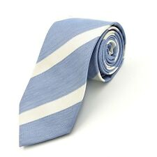 "Banana Republic Necktie Light Blue White Diagonal Stripes Classic Silk 3"" Wide"