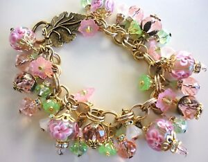 Statement Glass Charm Bracelet Pink Floral Lampwork Crystal w M Haskell Chain