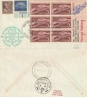 US 1958 FIRST FLIGHT FLOWN AIR MAIL COVER NEW YORK TO SHANNON IRELAND