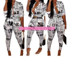 NEW Women Letter Print Blouses Shirts+Pencil Pants Suit 2 PC Set Outfits #J3