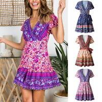 Women Bohemia Floral Mini Dress Lady V-neck Ruffles Short Wrap Tea Dresses UA