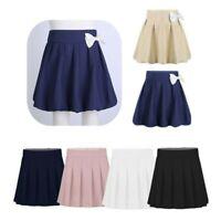 FASHION FAIRIES Childrens School Uniform 3 Side Pleated Elasticated Waist Plain Mini Skirt