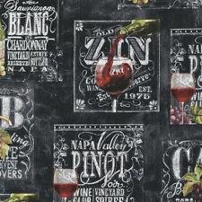 BY YARD-Wine List Label Winery Zin Pinot Fabric Robert Kaufman 70749-2 Black