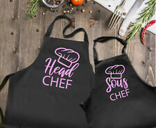Mother and daughter matching aprons set. Head chef and Sous Chef. Mother's day