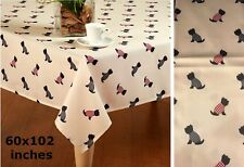 60x102 Oblong (Rectangular) Fabric Tablecloth with Black Cairn Terriers in Coats