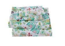 Fancy Linen 3pc Twin Size Sheet Set Teens/Girls Owl Teal Green Aqua New