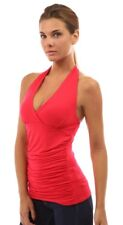 PattyBoutik Women's Halter Ruched Sides Top - Red XL
