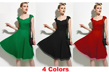 Women Spring Vintage Retro 1950s A Line V Neck Garden Party Tea Grace Dress