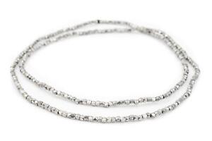 Dark Silver Faceted Tiny Diamond Cut Beads 2mm White Metal 24 Inch Strand