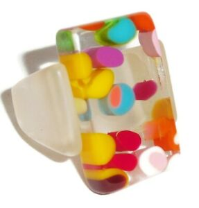 Sobral Mil Flores Violetta Multi Color Dot Inclusion Artist Made Ring Size 8