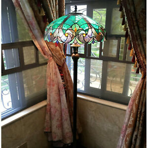 Tiffany Style Floor Lamp Stained Glass Vintage Victorian Design 2 Lights Green