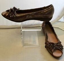 The FLEXX  Bows open toe wedge heel Black gold faux snake Women's 8.5 M Shoes