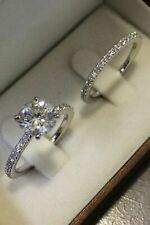 3CT Sapphire Engagement Ring Diamond Wedding Set 18ct White Gold Sizes All Sizes