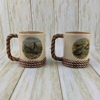 VTG Shortridge Coffee Mugs Bird Sand Piper Quail Nautical Rope Design - Set of 2
