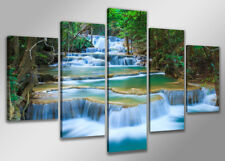 Bild 200x100 cm 5 tlg Wasserfall echte Leinwand XXXL Bilder Nr 6308>  Visario
