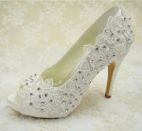 Handmade Ivory Crystal Lace Bridal Shoes High Heel Peep Toes Wedding Shoes UK3-8