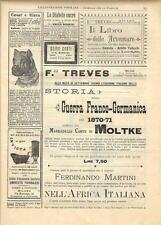 Stampa antica pubblicità STORIA DELLA GUERRA ed altro 1891 Old antique print