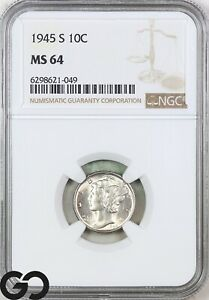 1945-S MS64 Mercury Dime NGC Mint State 64