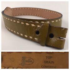 1960s Green Leather Belt / 60s Justin Wide Western Hipster Belt / Men's 26 to 30